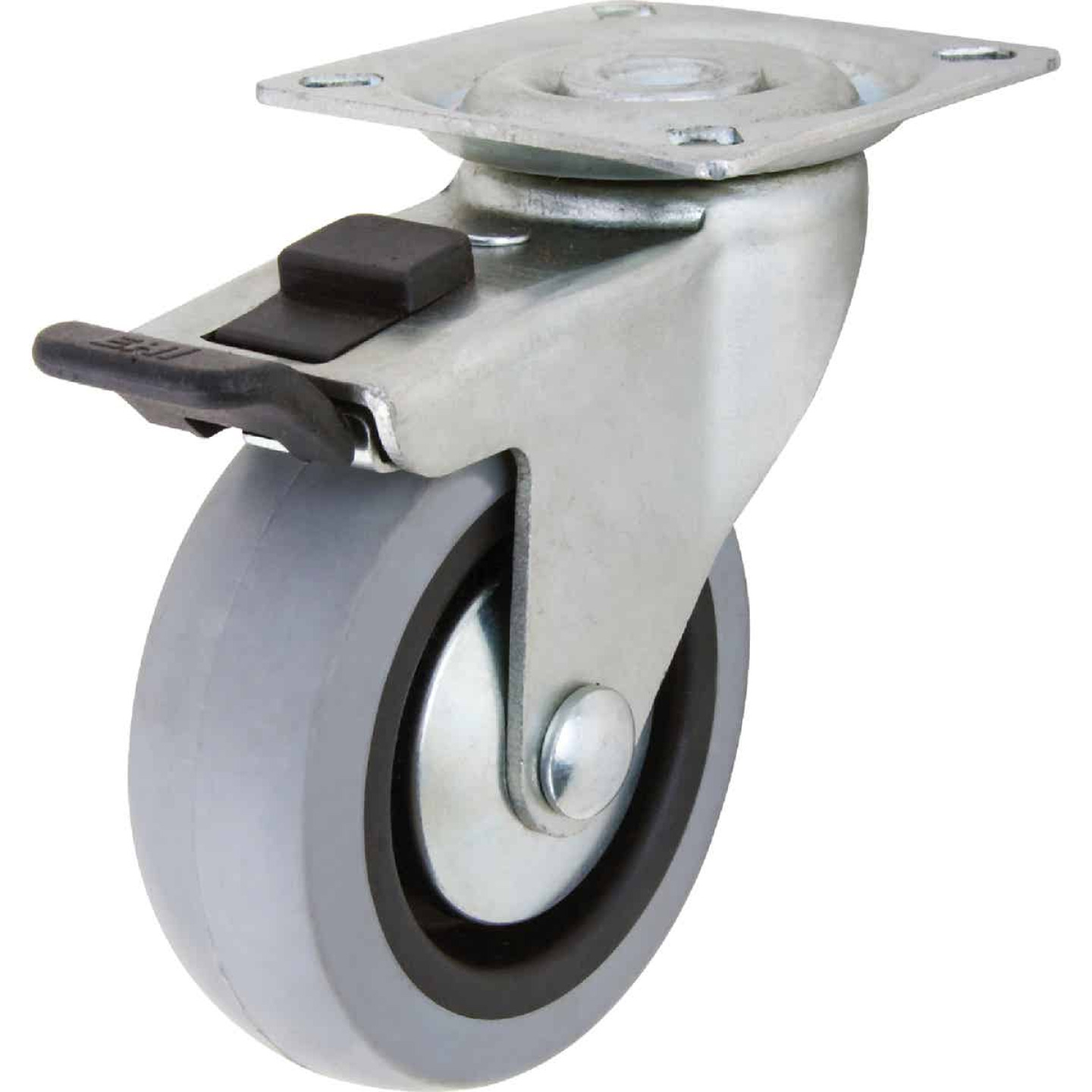 Shepherd 3 In. Thermoplastic Swivel Plate Caster with Brake Image 1