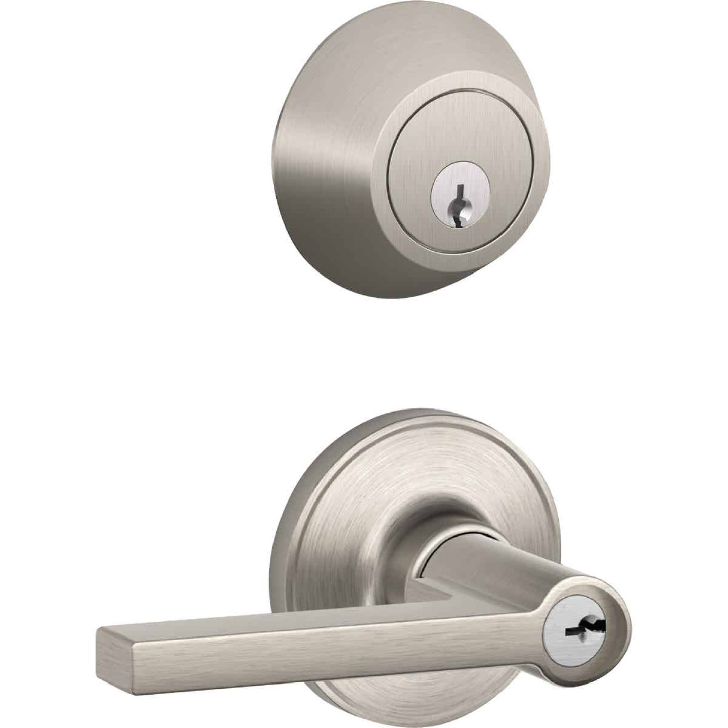 Dexter Solstice Satin Nickel Single Cylinder Deadbolt & Door Lever Combo Image 1