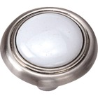 Laurey Satin Chrome & White Porcelain Accent 1-1/4 In. Cabinet Knob Image 1