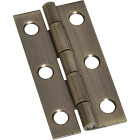 National 1 In. x 2 In. Antique Brass Narrow Decorative Hinge (2-Pack) Image 1