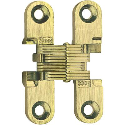 SOSS Satin Brass 1/2 In. x 1-3/4 In. Invisible Hinge, (2-Pack)