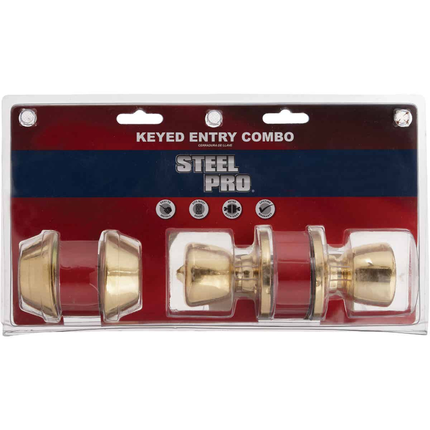 Steel Pro Polished Brass Deadbolt and Door Knob Combo Image 2