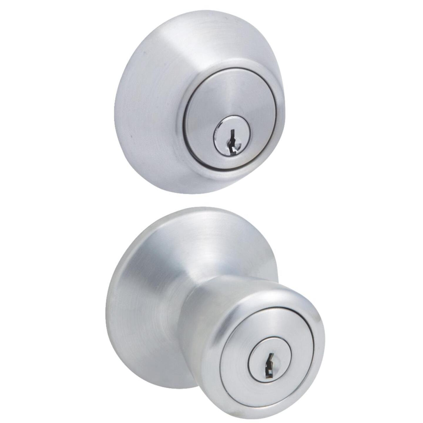 Steel Pro Satin Chrome Deadbolt and Door Knob Combo Image 1