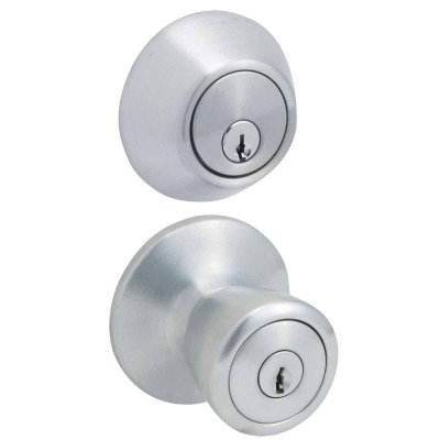 Steel Pro Satin Chrome Deadbolt and Door Knob Combo
