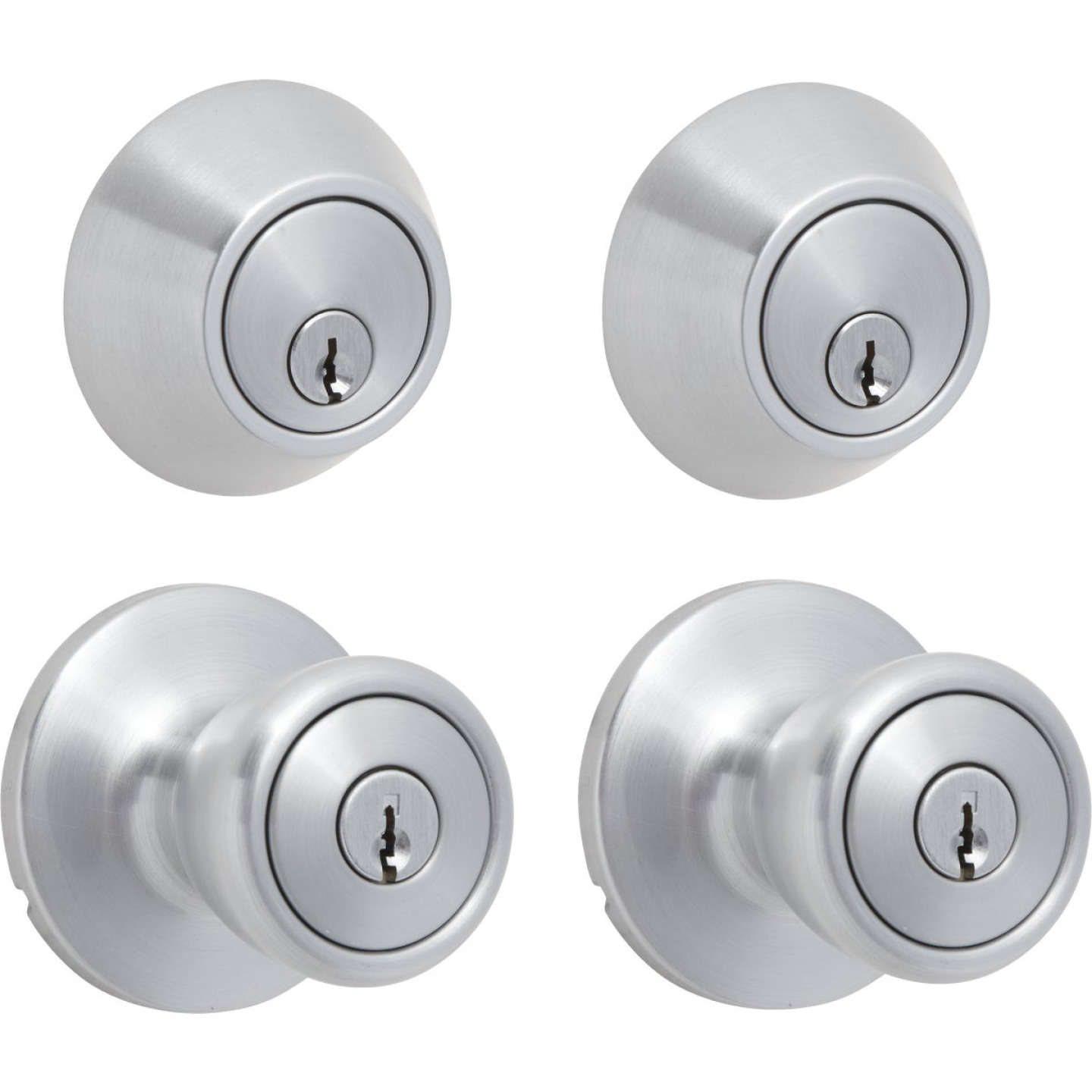 Steel Pro Satin Chrome Deadbolt and Door Knob Combo Image 3