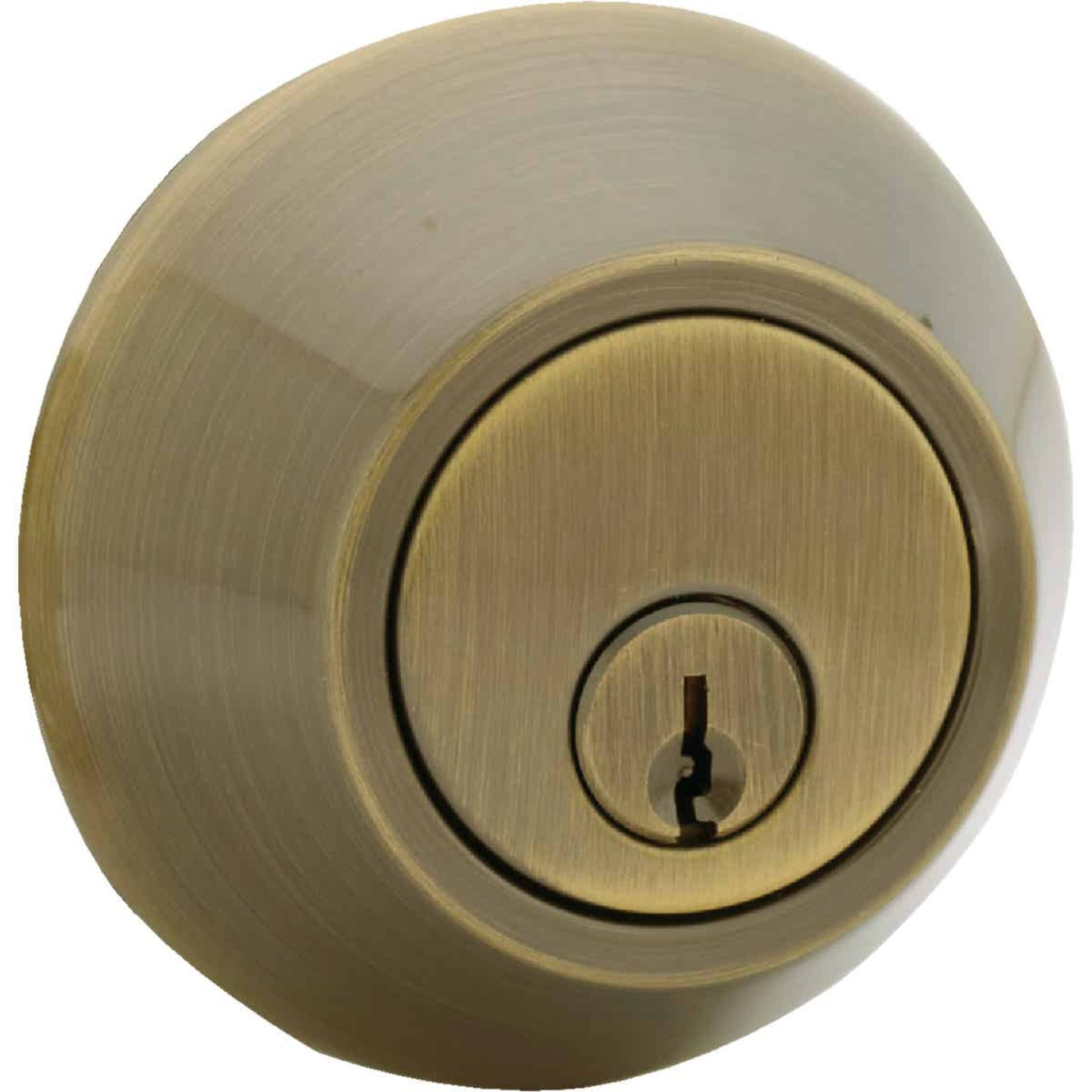 Steel Pro Antique Brass Single Cylinder Deadbolt Image 1