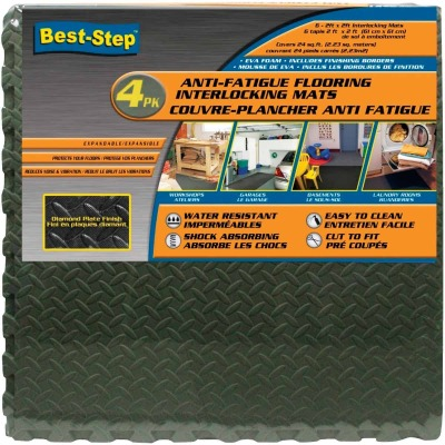 Best-Step 24 In. x 24 In. Gray with Diamond Plate Finish Interlocking Anti-Fatigue Mat