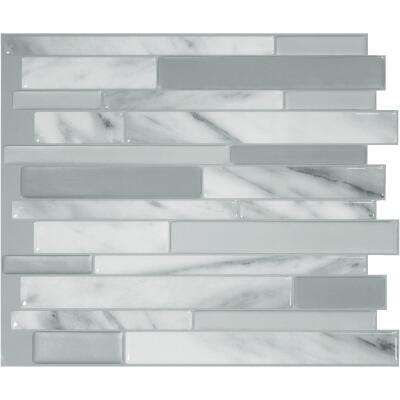 Smart Tiles 10.2 In. x 9.1 In. Glass-Like Plastic Backsplash Peel & Stick, Milano Carrera Mosaic