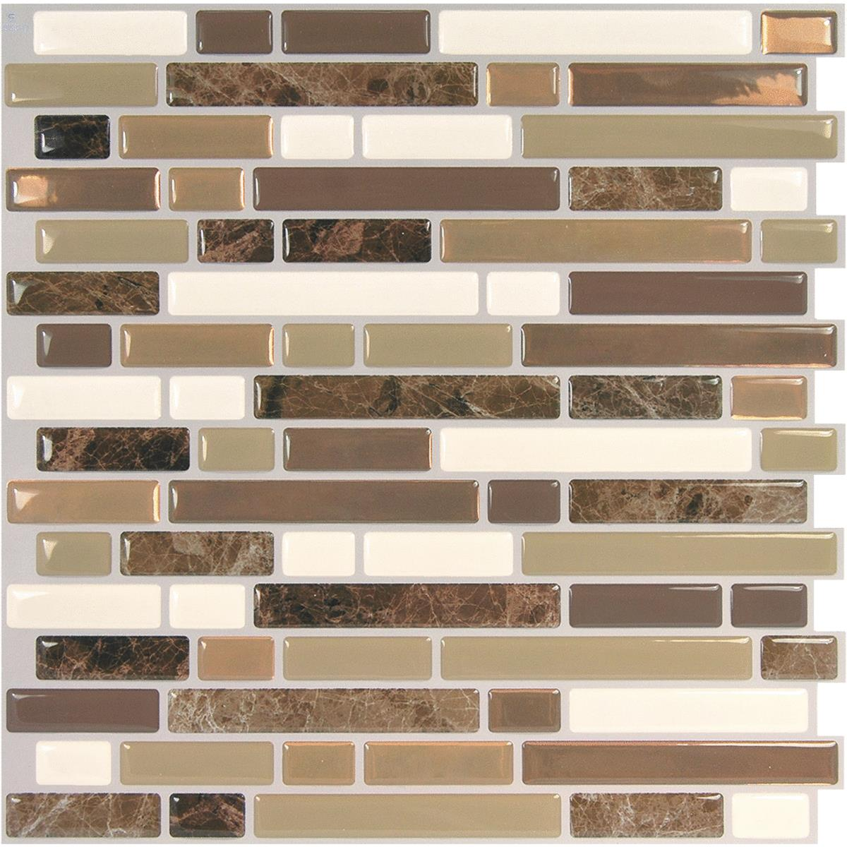 - Smart Tiles 10 In. X 10.06 In. Glass-Like Plastic Backsplash Peel