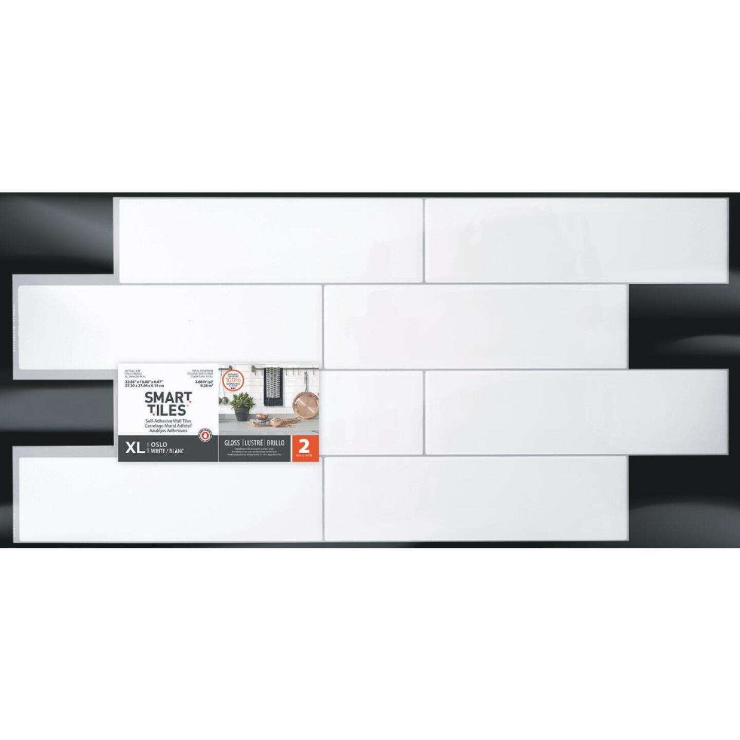 Smart Tiles 10.88 In. x 22.56 In. Glass-Like Plastic Backsplash Peel & Stick, Oslo White Subway Tile (2-Pack) Image 2