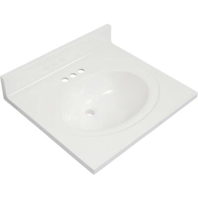 Modular Vanity Tops 25 In. W x 22 In. D Solid White Cultured Marble Vanity Top with Oval Bowl
