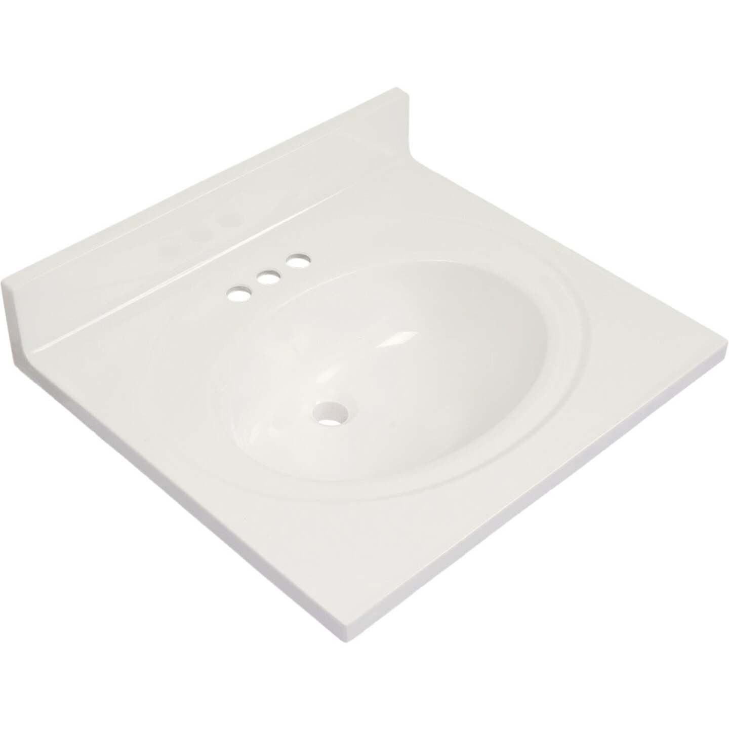 Modular Vanity Tops 25 In. W x 22 In. D Solid White Cultured Marble Vanity Top with Oval Bowl Image 1
