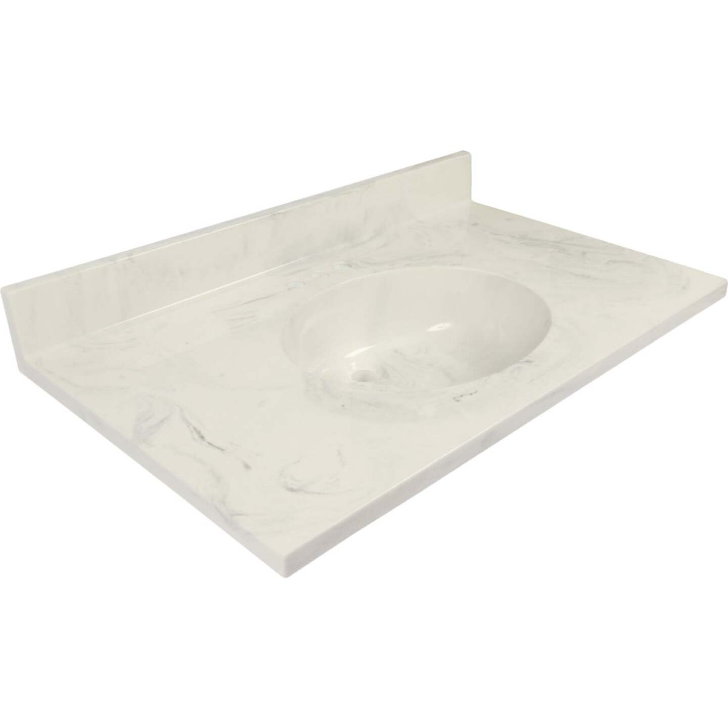Modular Vanity Tops 37 In. W x 22 In. D Marbled Dove Gray Cultured Marble Vanity Top with Oval Bowl Image 1