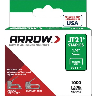 Arrow JT21 Light Duty Staple, 1/4 In. (1000-Pack)