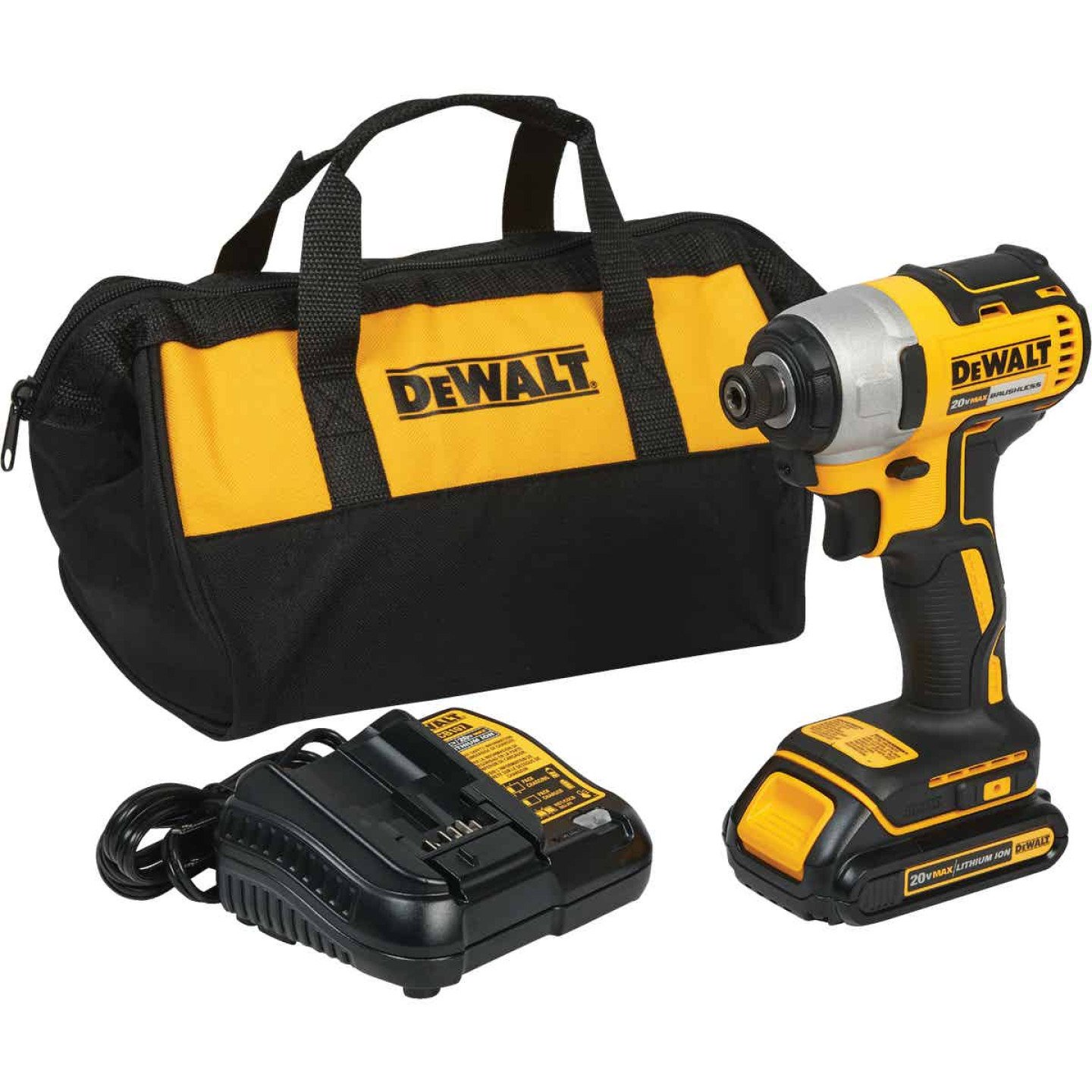 DeWalt 20 Volt MAX Lithium-Ion Brushless 1/4 In. Hex Cordless Impact Driver Kit Image 1