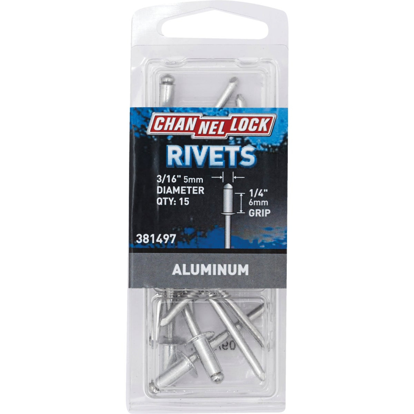 Channellock 3/16 In. Dia. x 1/4 In. Grip Aluminum POP Rivet (15-Pack) Image 1