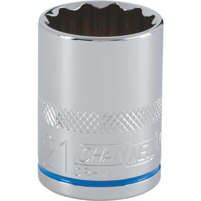 Channellock 1/2 In. Drive 21 mm 12-Point Shallow Metric Socket