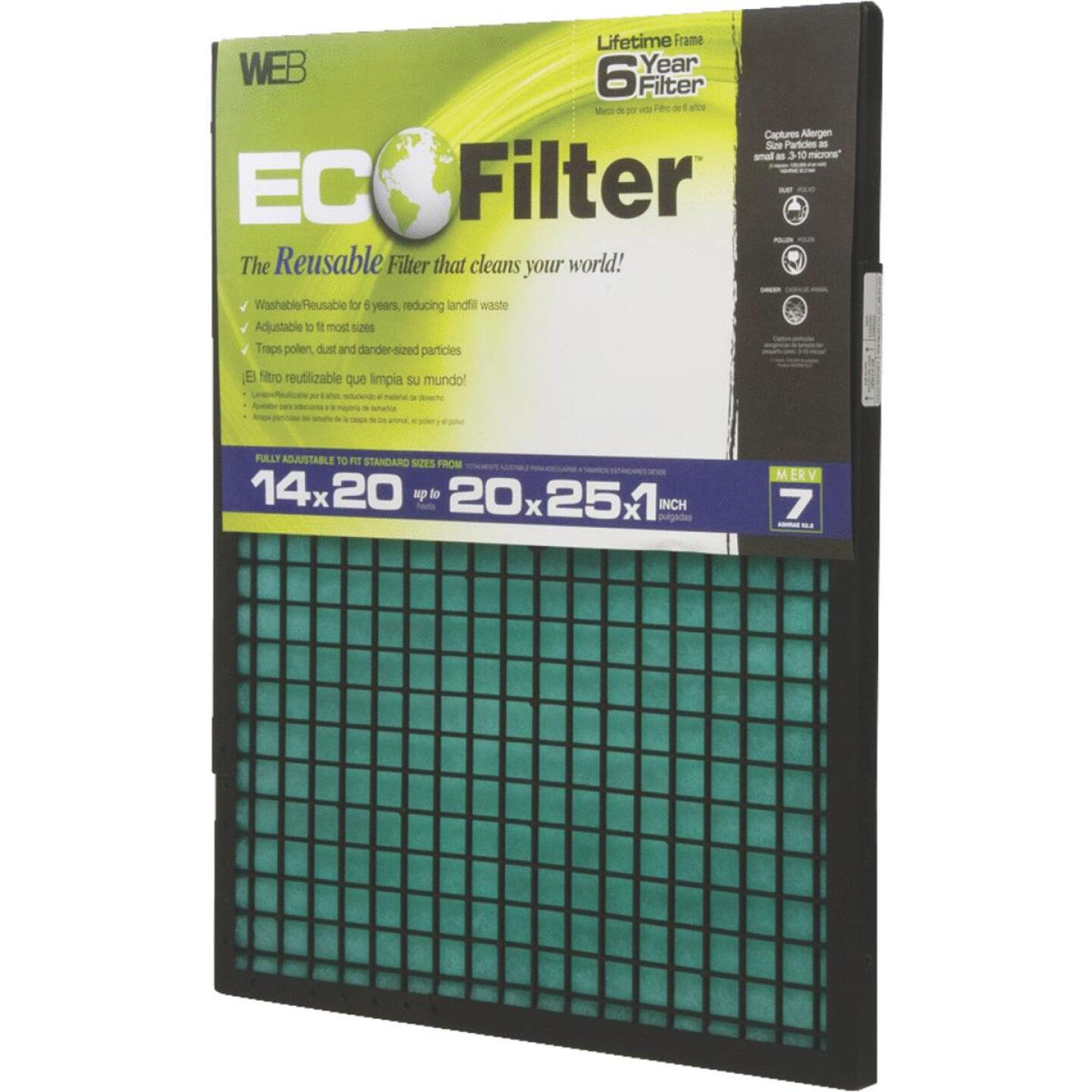 Web EcoFilter 14 In. x 20 In. x 1 In. to 20 In. x 25 In. x 1 In. Adjustable MERV 7 Furnace Filter Image 1