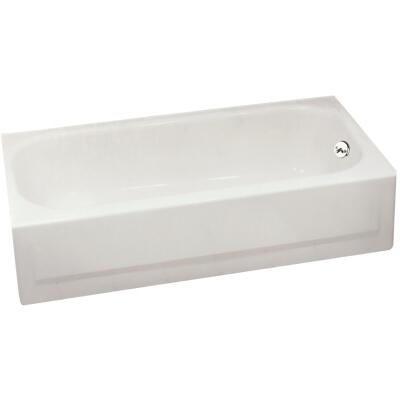 Briggs Pendant V 60 In. L x 30 In. W x 14-1/4 In. D Right Drain Bathtub in Bone