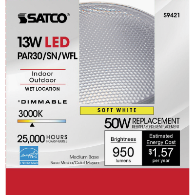 Satco 50W Equivalent Warm White PAR30 Short Neck Medium Dimmable LED Floodlight Light Bulb
