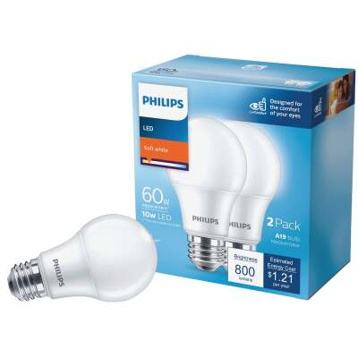 Philips 60W Equivalent Soft White A19 Medium LED Light Bulb (2-Pack)