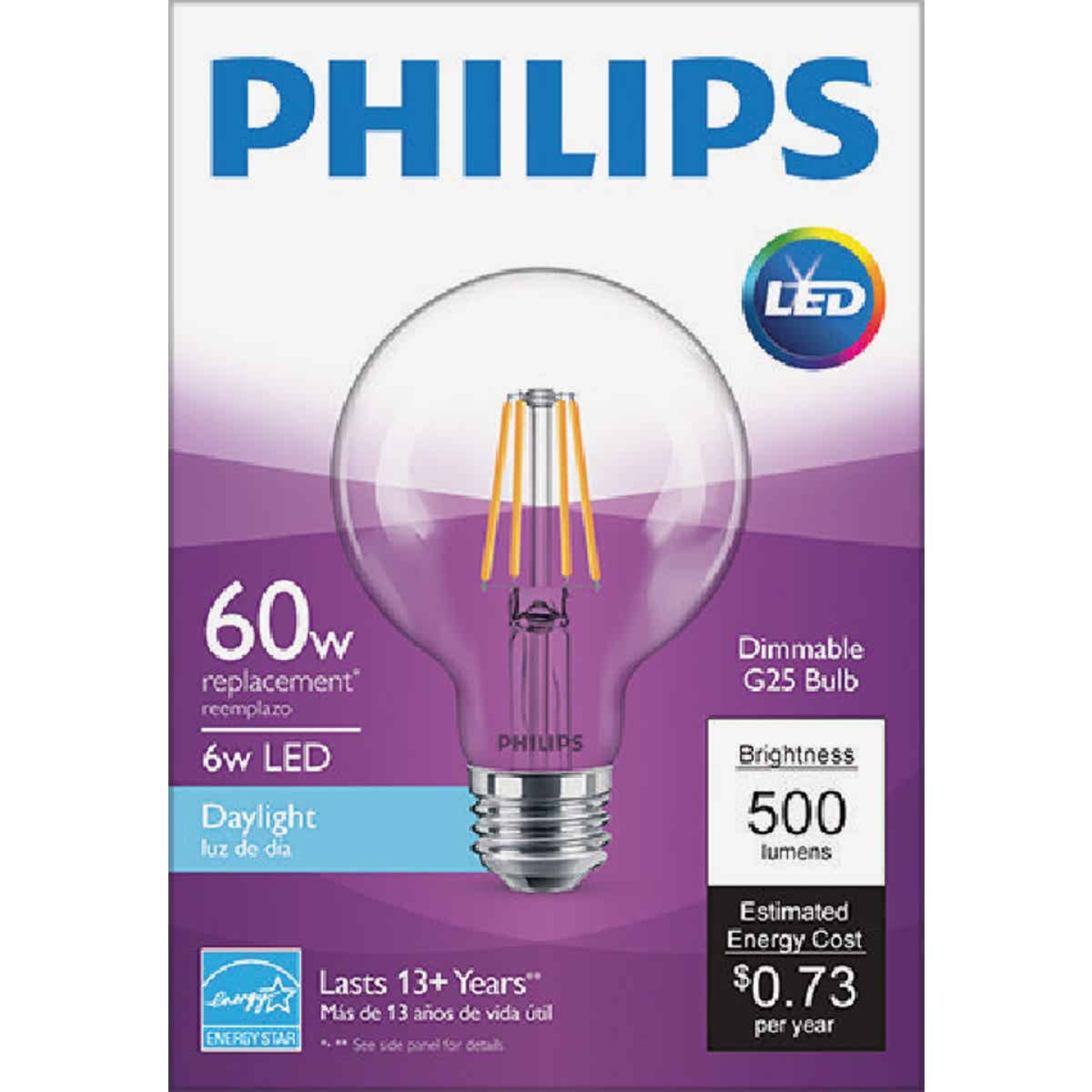 Philips 60W Equivalent Daylight G25 Medium Clear LED Decorative Light Bulb Image 2