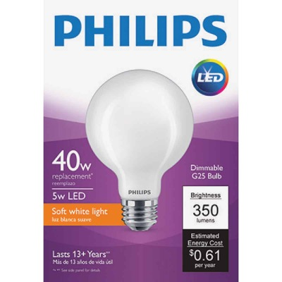 Philips 40W Equivalent Soft White G25 Medium Frosted LED Decorative Light Bulb