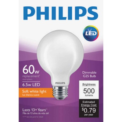 Philips 60W Equivalent Soft White G25 Medium Frosted LED Decorative Light Bulb