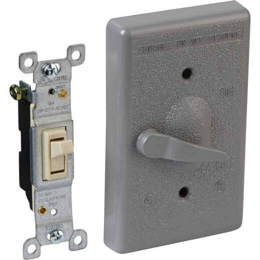 Bell Gray Single Gang Vertical Mount Outdoor Switch Cover