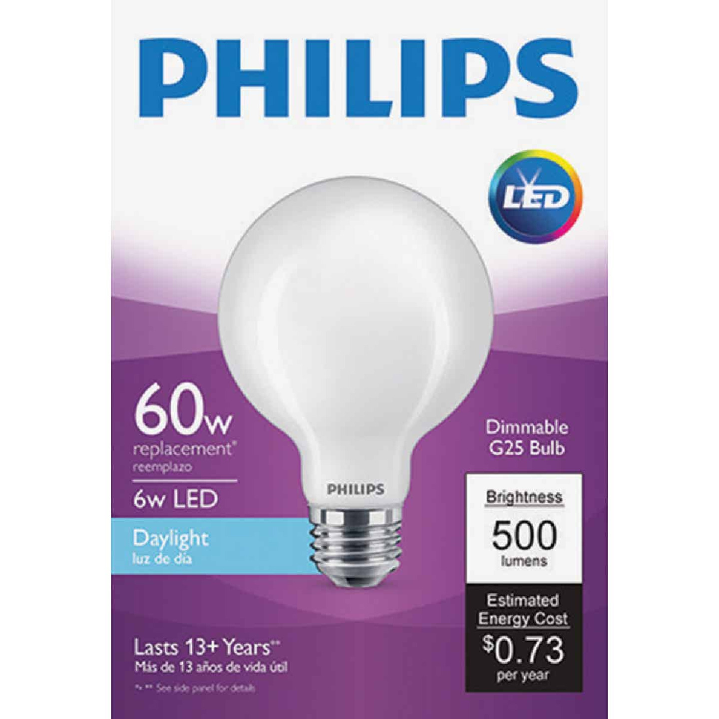 Philips 60W Equivalent Daylight G25 Medium Frosted LED Decorative Light Bulb Image 1