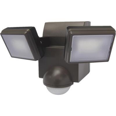 IQ America Bronze 700 Lm. LED Battery Operated 2-Head Security Light Fixture
