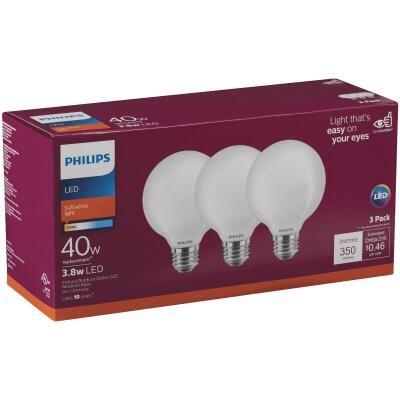 Philips 40W Equivalent Soft White G25 Medium Clear LED Decorative Light Bulb (3-Pack)
