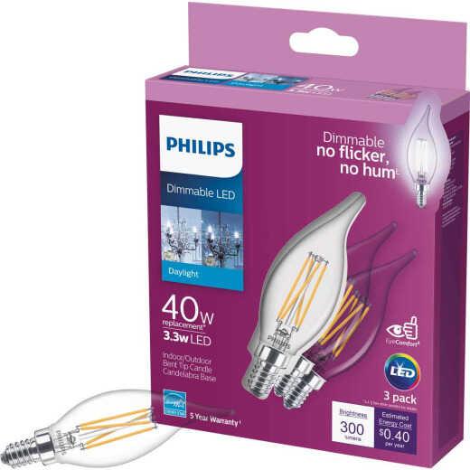 Philips 40W Equivalent Daylight BA11 Candelabra LED Decorative Light Bulb (3-Pack)