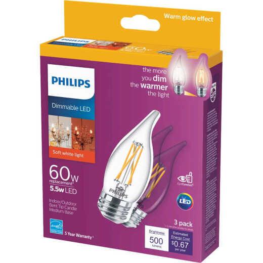 Philips Warm Glow 60W Equivalent Soft White BA11 Medium Decorative LED Light Bulb (3-Pack)