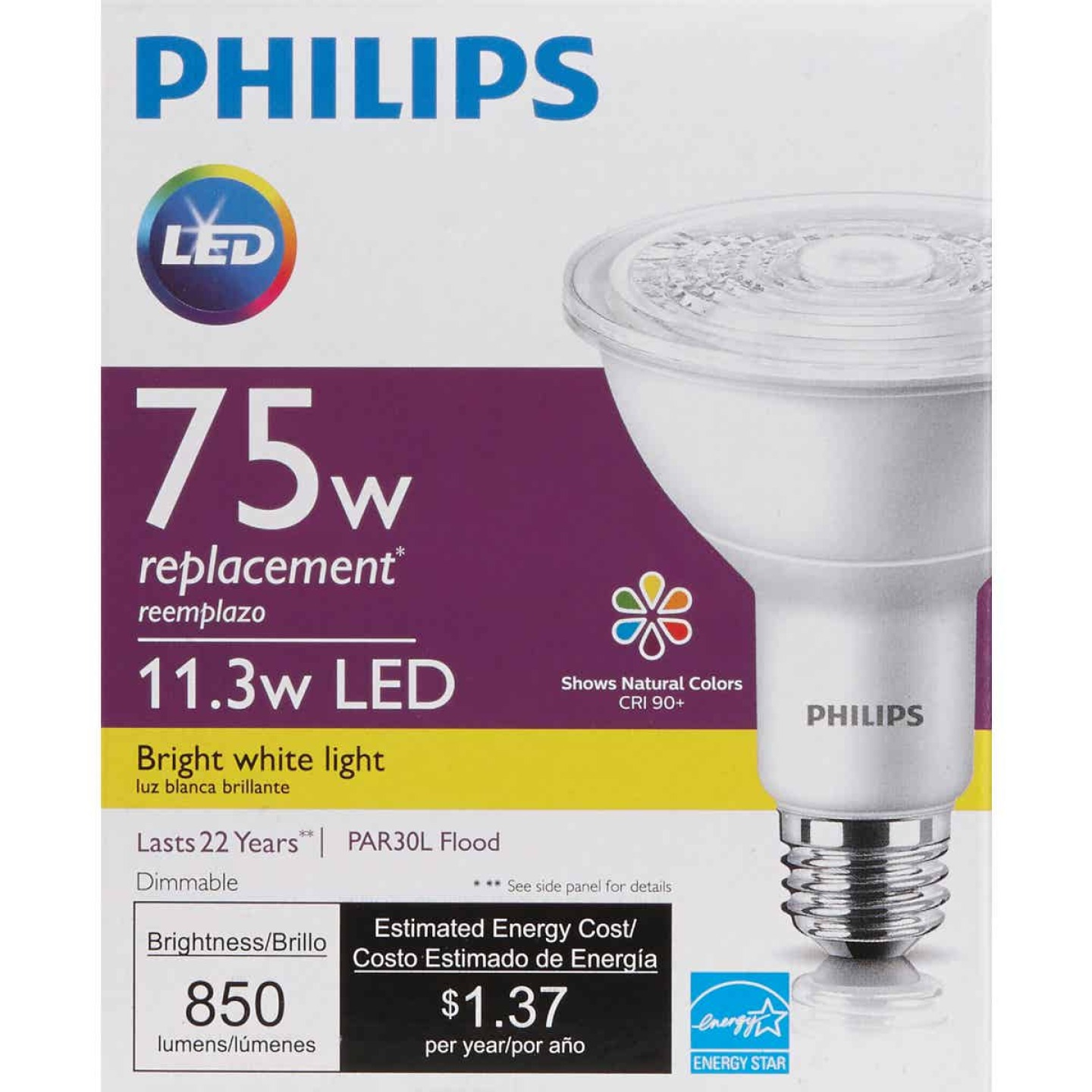 Philips 75W Equivalent Bright White PAR30 Long Neck Medium Dimmable LED Floodlight Light Bulb with Wide Beam Image 2