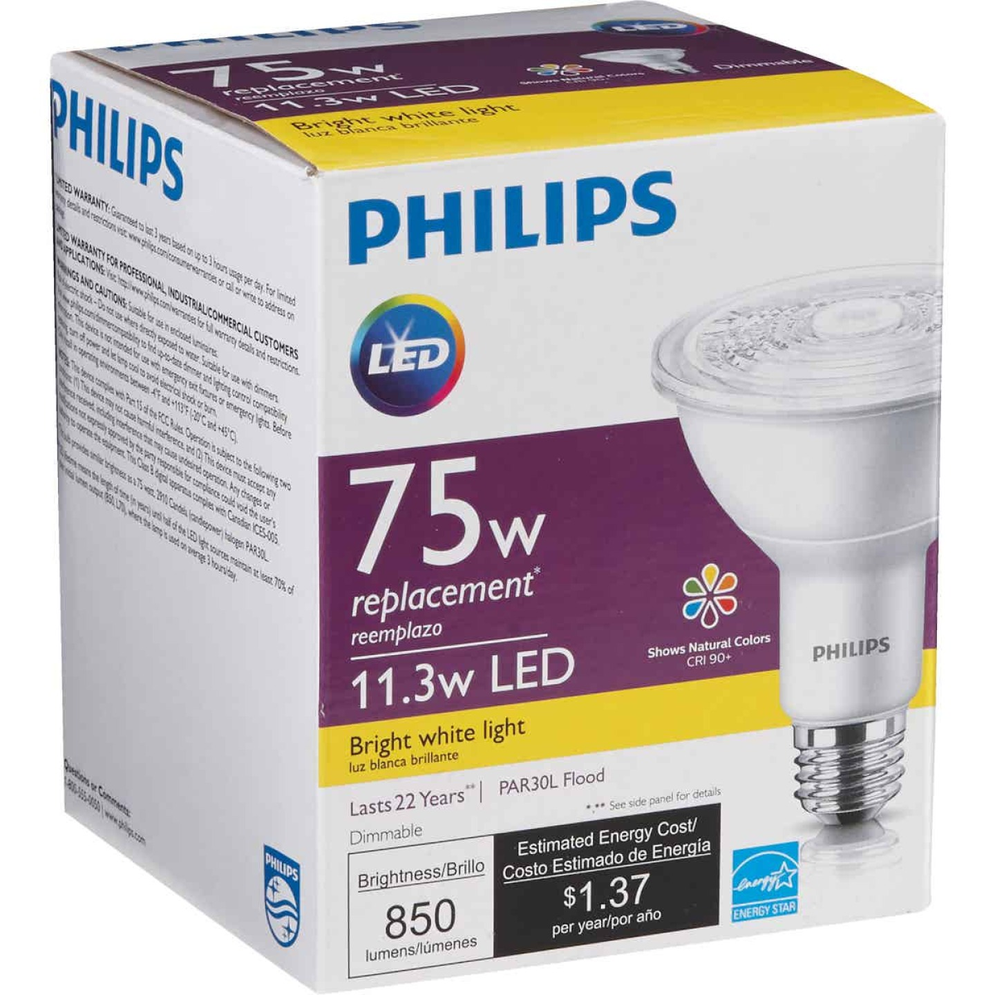 Philips 75W Equivalent Bright White PAR30 Long Neck Medium Dimmable LED Floodlight Light Bulb with Wide Beam Image 4