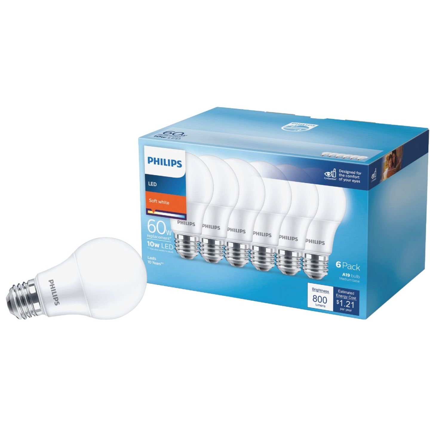Philips 60W Equivalent Soft White A19 Medium LED Light Bulb (6-Pack) Image 1