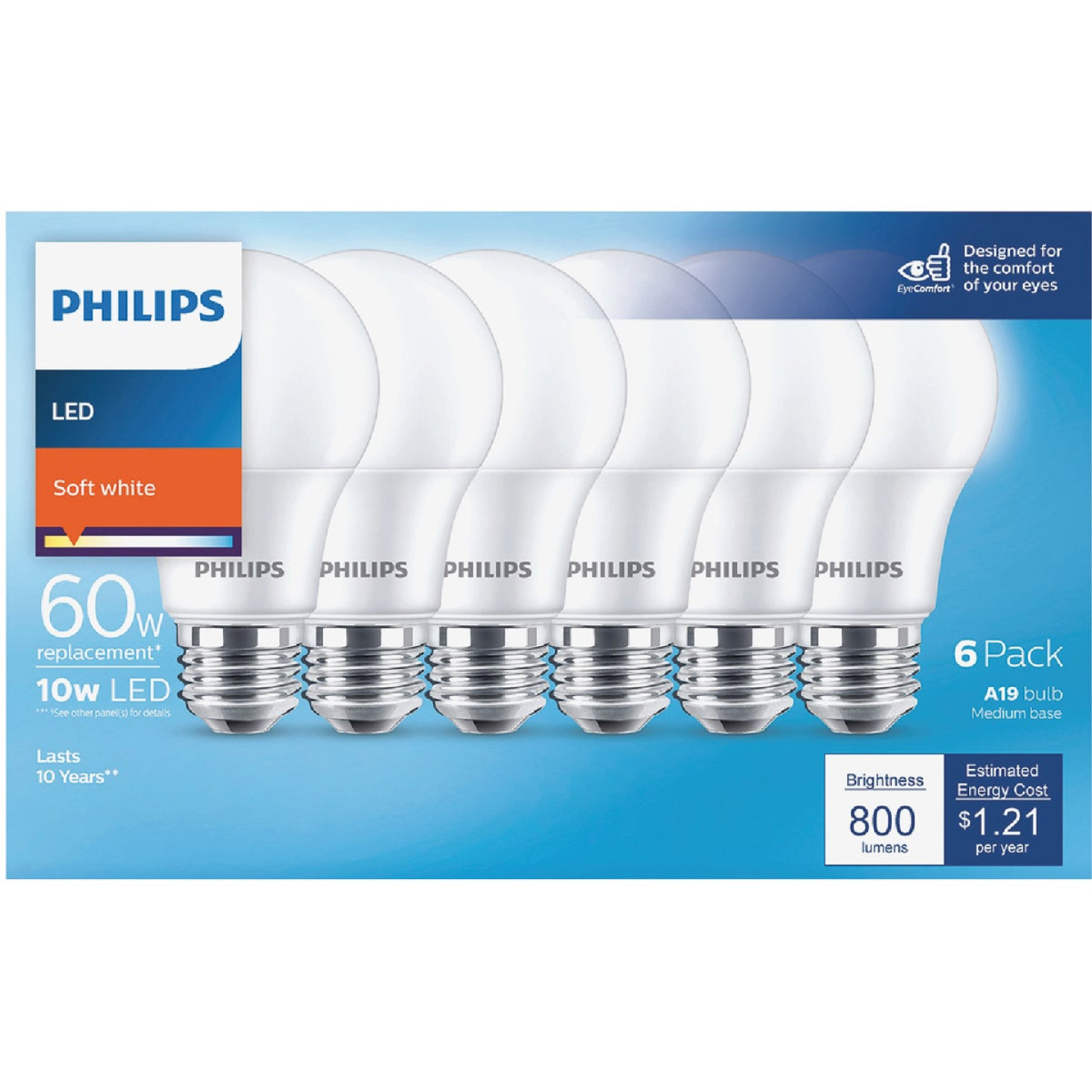 Philips 60W Equivalent Soft White A19 Medium LED Light Bulb (6-Pack) Image 2