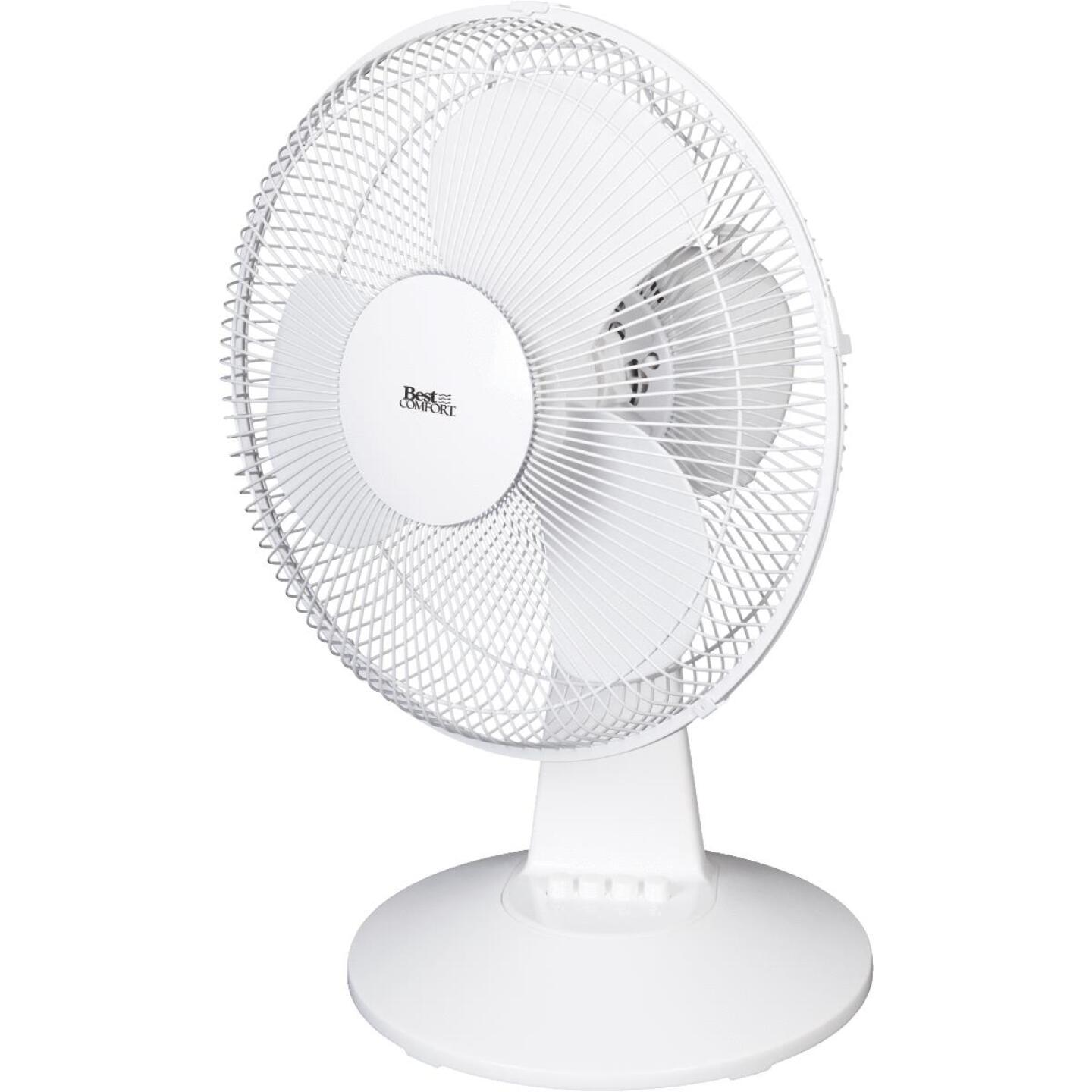 Best Comfort 12 In. 3-Speed White Oscillating Table Fan Image 2