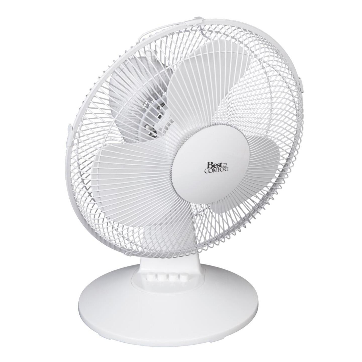 Best Comfort 12 In. 3-Speed White Oscillating Table Fan Image 3