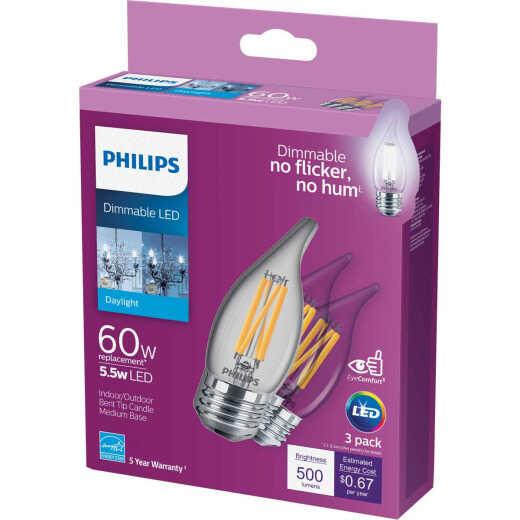 Philips 60W Equivalent Daylight BA11 Medium LED Decorative Light Bulb (3-Pack)