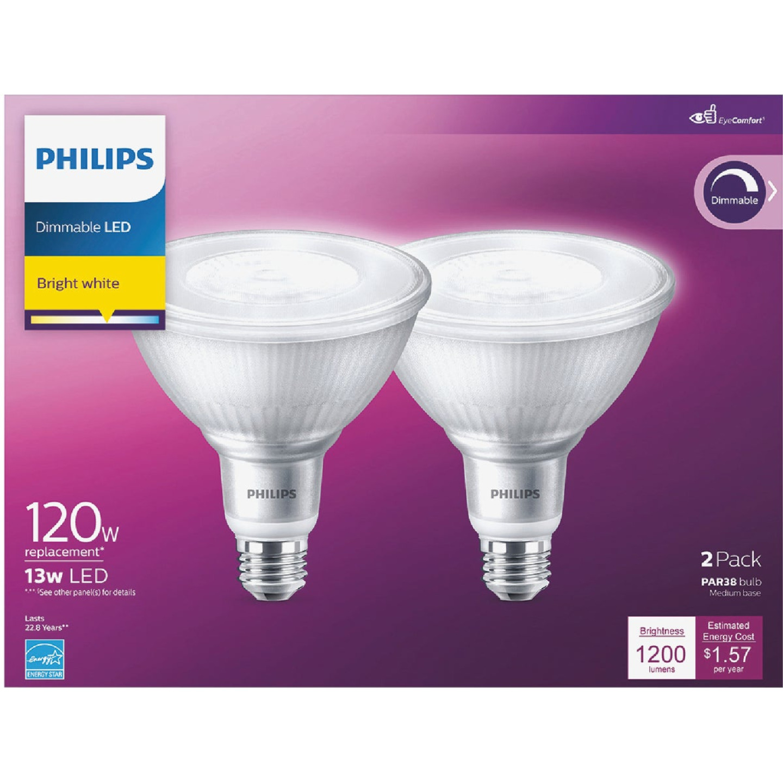 Philips 120W Equivalent Bright White PAR38 Medium Indoor/Outdoor LED Floodlight Light Bulb (2-Pack) Image 2