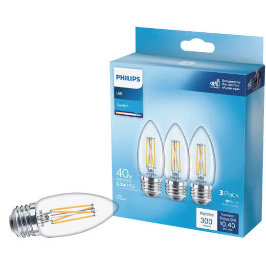 Philips 40W Equivalent Daylight B11 Medium Clear LED Decorative Light Bulb (3-Pack)
