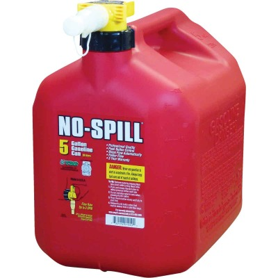 No-Spill 5 Gal. Plastic Gasoline Fuel Can, Red