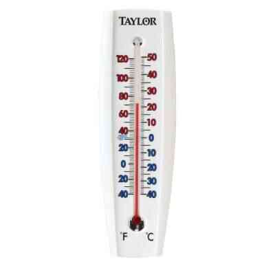 """Taylor 2-3/8"""" W x 7-5/8"""" H Aluminum Tube Indoor & Outdoor Thermometer"""