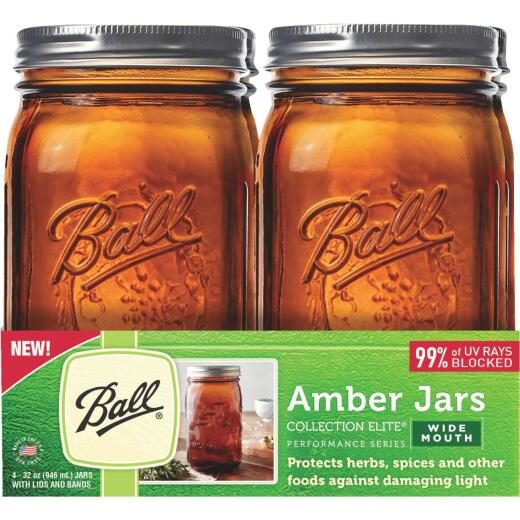 Ball Collection Elite Quart Wide Mouth Amber Canning Jar (4-Count)