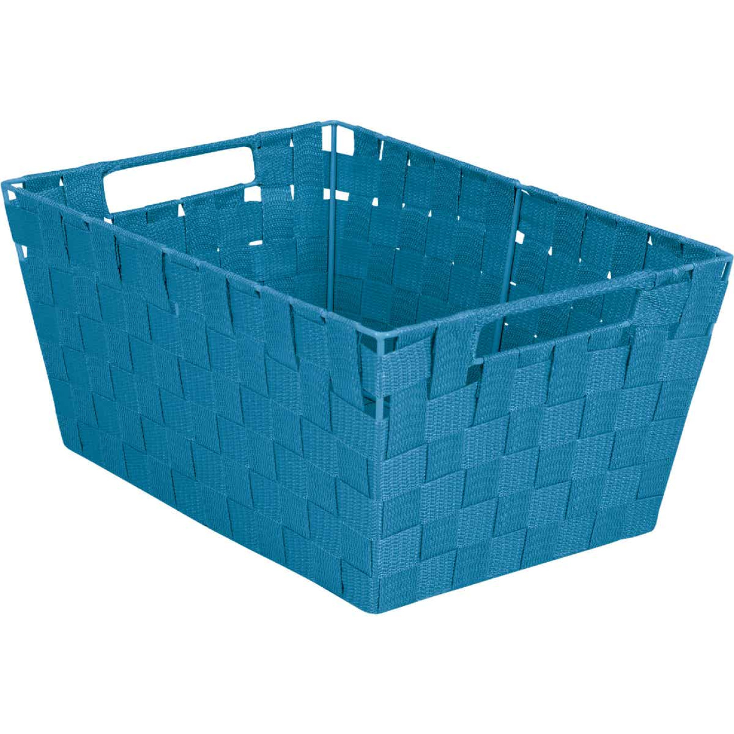 Home Impressions 10 In. W. x 6.75 In. H. x 14 In. L. Woven Storage Basket with Handles, Blue Image 1