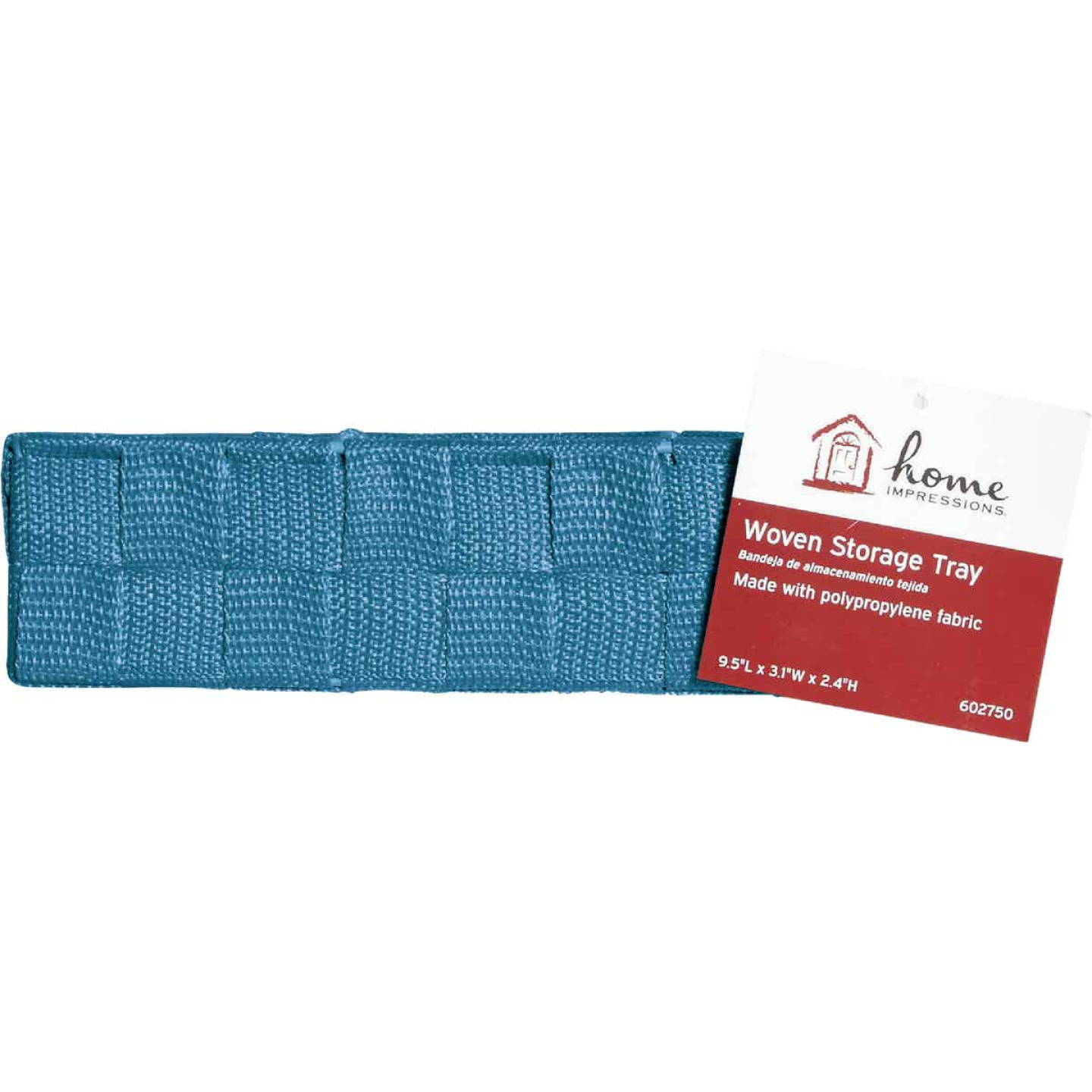 Home Impressions 3.25 In. W. x 2.25 In. H. x 9.5 In. L. Woven Storage Tray, Blue Image 2