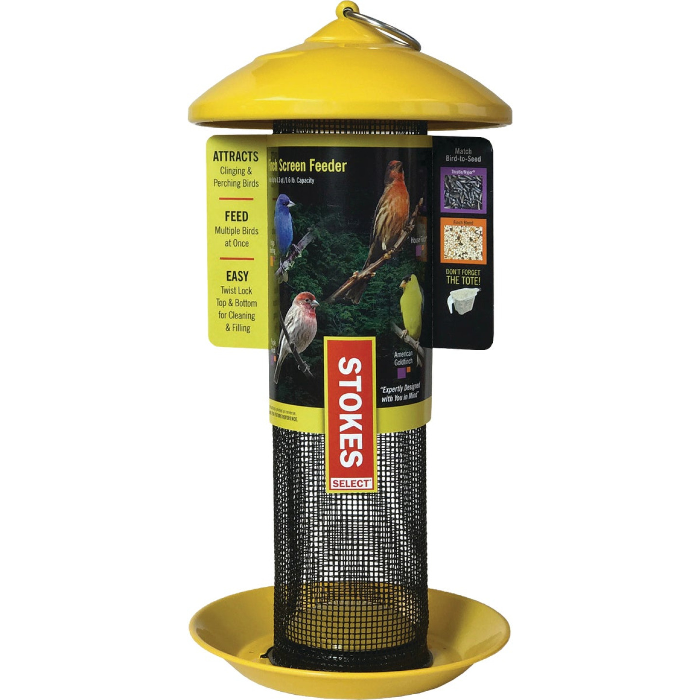 Stokes Select 13 In. 1 Lb. Capacity Yellow Finch Screen Feeder Image 1