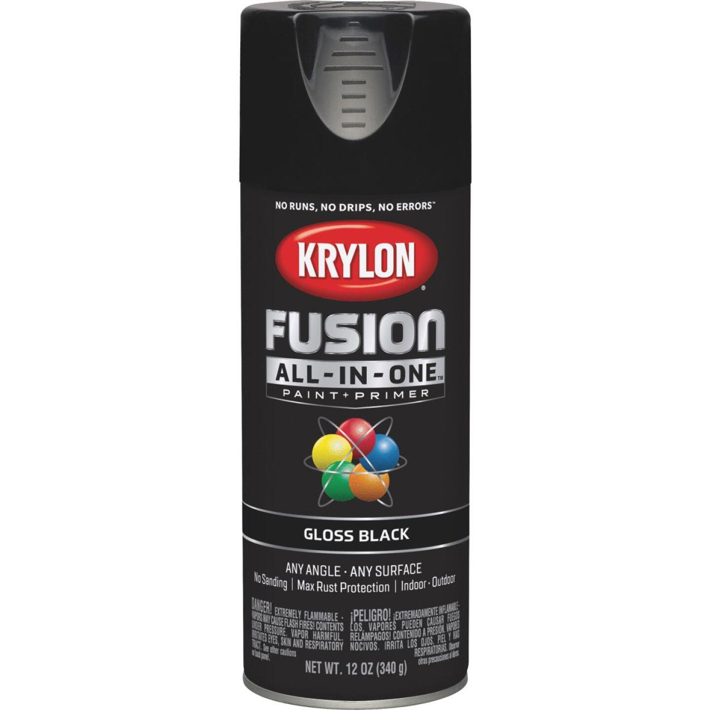 Krylon Fusion All-In-One Gloss Spray Paint & Primer, Black Image 1